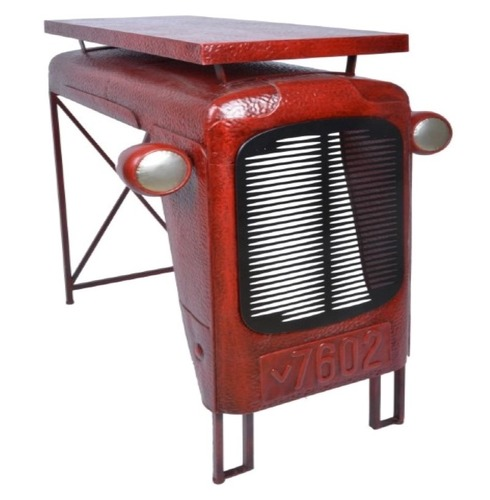Tractor Table Quirky Vintage Design - Aged Red