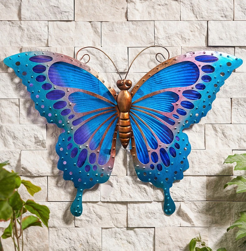 Large Butterfly Wall Art Glass and Metal