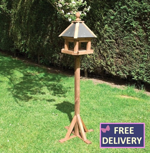 Laverton Bird Table - Wooden Bird Table and Stand - Slate Roof