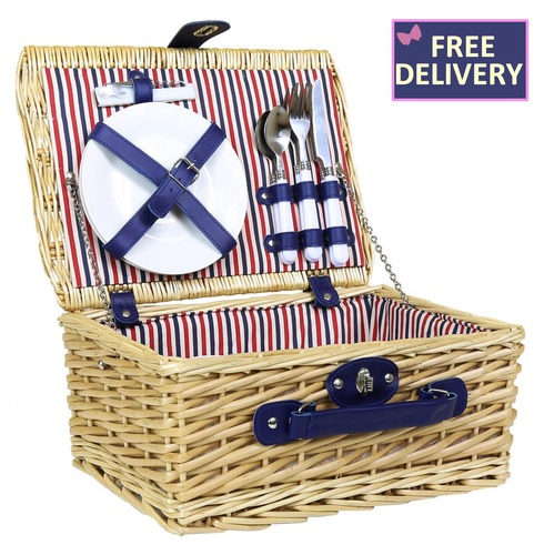 Lightweight Wicker Picnic Basket Hamper  Set for Two - Striped Lining