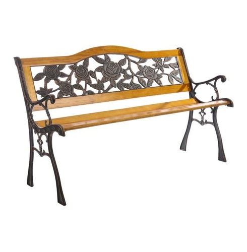 Garden Furniture Floral S Bend Bench in Wood and Metal