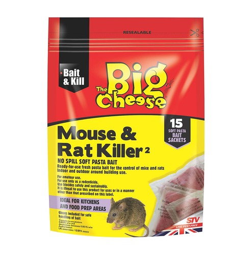 Mouse and Rat Killer - 150g Pack - 15 Sachets All Weather Bait Blocks