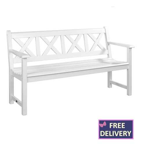 White New England Drachmann Wooden Bench - 5ft