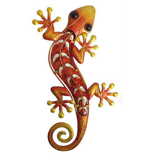 Gecko Wall Art Glass and Metal - Orange