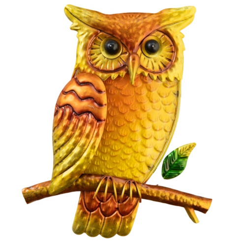 Owl Wall Art Glass and Metal
