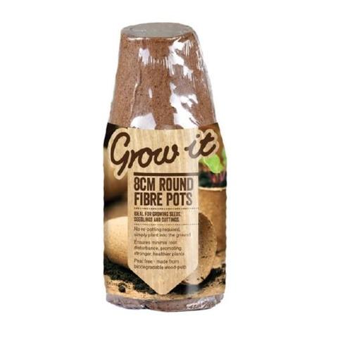 Peat Free Fibre Pots - 12 Pack - 8cm Round - Gardman Grow It