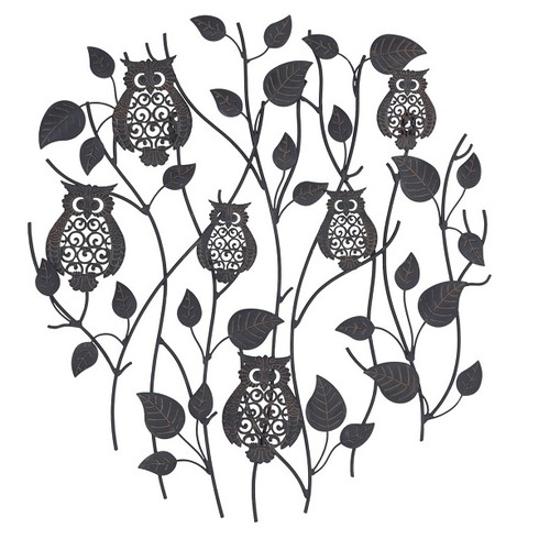 Perching Owls Metal Wall Art