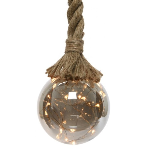 Christmas Light Ball on Rope - 1m, 14 Dia - 30 LED Warm White Lights