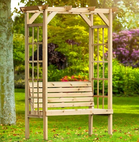 Wooden Rosedale Garden Arbour Arch Seat