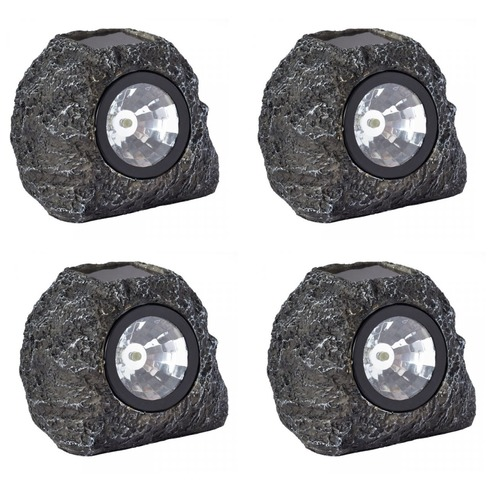 Solar Granite Effect Rock Spots Lights - 4 Pack