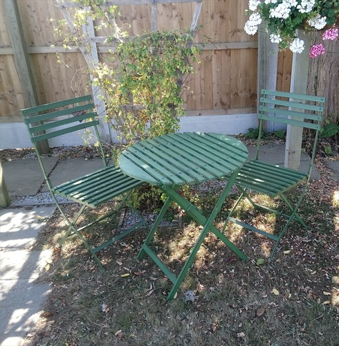 Wimbledon Tea For Two Bistro Metal Garden Furniture Set - Distressed Green
