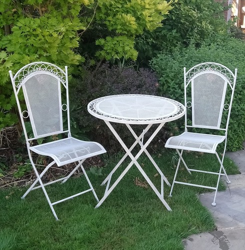 Aged White Bistro Set - Metal Tea for Two French Design
