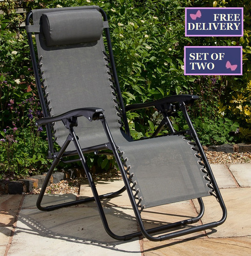 Multi Position Textaline Relaxer Lounger Chairs - Set of Two