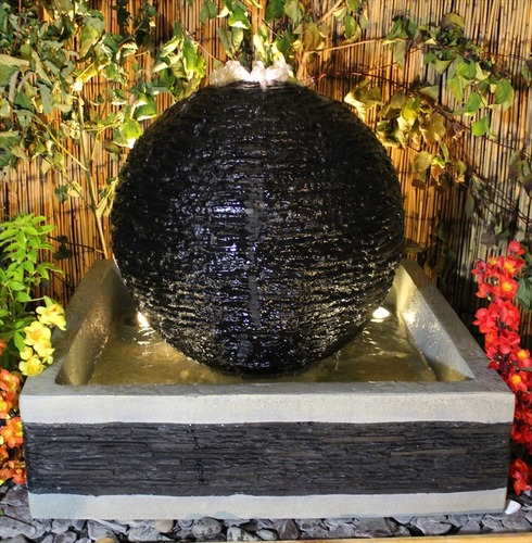 Grand Earth Stone Sphere Solar Power Water Feature - 75cm