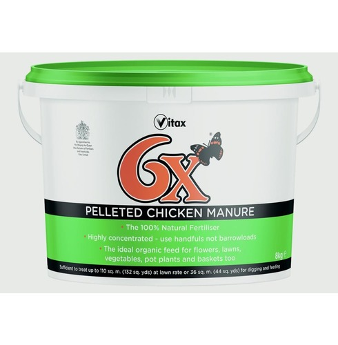 Vitax 6x Odourless Pelleted Poultry Chicken Fertiliser 8kg