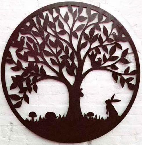 Large Wildlife Tree of Life Round Metal Wall Art