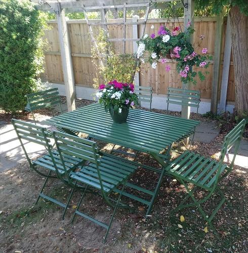 Wimbledon 6 Seater Metal Garden Furniture Set -  Distressed Green