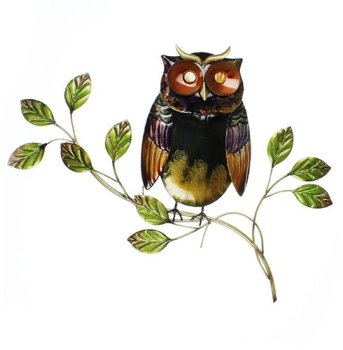 Hand Painted Metal Owl on Branch Wall Art