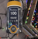Festive 100 Battery Operated Christmas String Lights - Multi Coloured