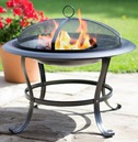 Black Steel Firebowl with Mesh Safety Cover - La Hacienda