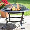 Black Steel Firebowl with Mesh Safety Cover - La Hacienda