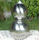Stainless Steel Double Stacked Sphere Water Feature