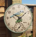 """Blue Tit Garden Outdoor Clock & Thermometer 12"""""""