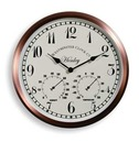 Henley Garden Wall Clock & Thermometer 30.5cm - Copper Effect