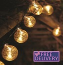 String Lights Christmas Tree Decorations Gold Stellar Glass Bauble Light - Battery