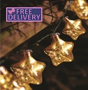 String Lights Christmas Tree Decorations Gold Stellar Glass Star Light - Battery