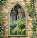 Gothic Style Chapel Outdoor Garden Mirror - Sandy - Charles Bentley