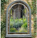 Premium Arched Grey Vintage Outdoor Garden Mirror - Charles Bentley