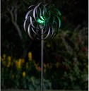 Garden Art - Solar Wind Spinner Spiro Illuminated Crackled Globe