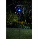 Garden Art - Solar Wind Spinner Boreas Illuminated Crackled Globe