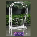 Wrought Iron 2 Seater White Arbour Bench Arch - Charles Bentley
