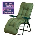 Reclining Multi Position Lounger Chairs - Set of Two - Green