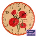 Poppy Garden Outdoor Wall Clock 12""