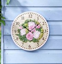 Floral Garden Outdoor Wall Clock 12""