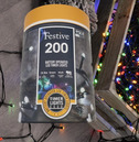 Festive 200 Battery Operated Christmas String Lights - Multi Coloured
