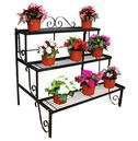 Plant Pot Stand Etagere 3 Tier - Black