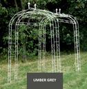 FL-DE-LYS Metal Garden Arch Walkway Tunnel - Umber Grey