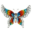 Colourful Hand Painted Metal Butterfly Wall Art