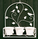 Ornate Wall Pot Holder Leaf Design with Birds