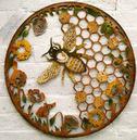Beehive Bee Round Metal Wall Art