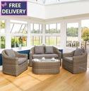 Bunbury Rattan 4 Peice Sofa and Chair Set - Natural Weave