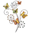 Butterflies and Flowers Metal Wall Art
