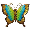 Butterfly Wall Art Glass and Metal - Blue and Yellow