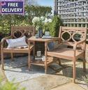 Christi Tete A Tete Companion Seat Wooden Bench - Eucalyptus Wood