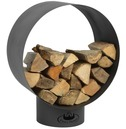 Round Metal Black Wood Store - Modern Design