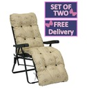 Reclining Multi Position Lounger Chairs - Set of Two - Nancy Cream